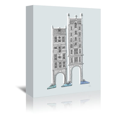 Friendly Buildings 1 by David Fleck Wrapped Canvas - Wrapped Canvas - Americanflat