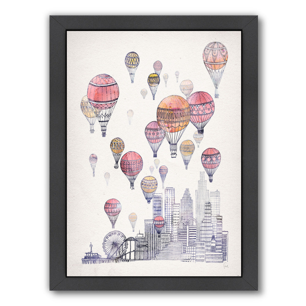 Voyages Over Santa Monica by David Fleck Framed Print - Americanflat