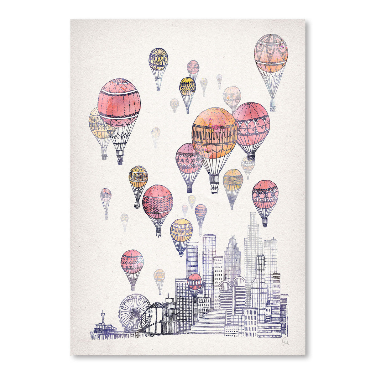 Voyages Over Santa Monica by David Fleck Art Print - Art Print - Americanflat