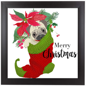 Pug Christmas by Edith Jackson Framed Print