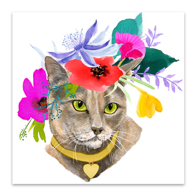 Flower Cat by Edith Jackson Art Print - Art Print - Americanflat