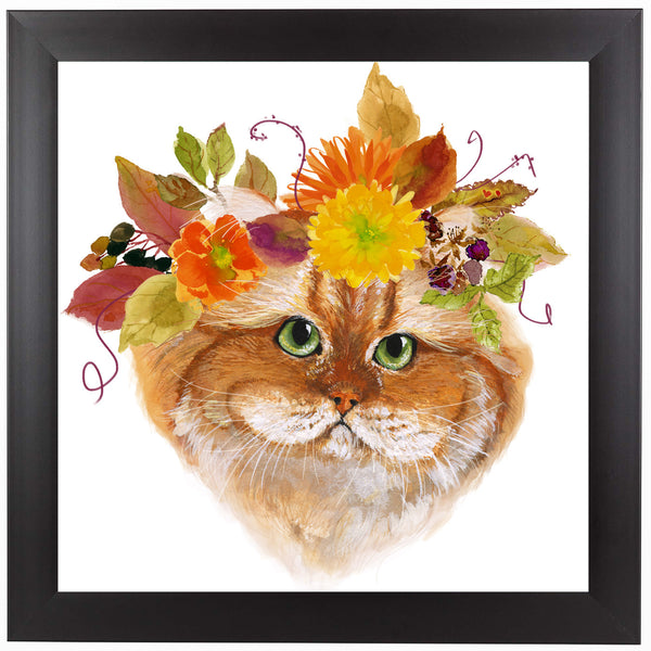 Flower Brown Cat by Edith Jackson Framed Print
