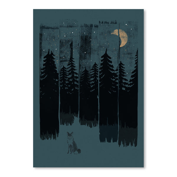 Fox In The Wild Night Rectangle3 by NDTank Art Print