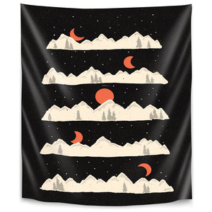 Moon Rises Moon Sets  by Ndtank Tapestry