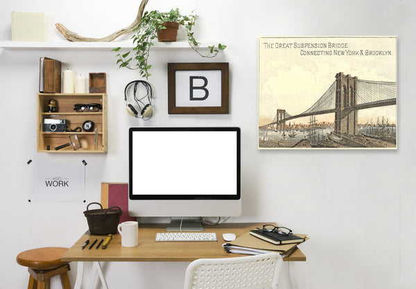Brooklyn Bridge by Found Image Press Wrapped Canvas