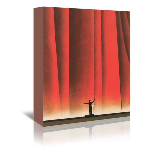 Conductor In Front Of Curtain by Found Image Press Wrapped Canvas
