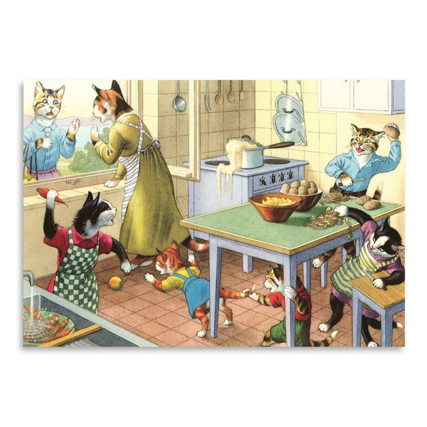 Crazy Cats In The Kitchen by Found Image Press Art Print