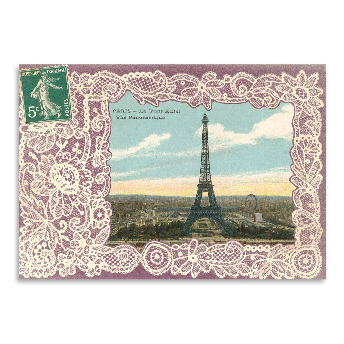 Eiffel Tower Postcard Stamp by Found Image Press Art Print - Art Print - Americanflat