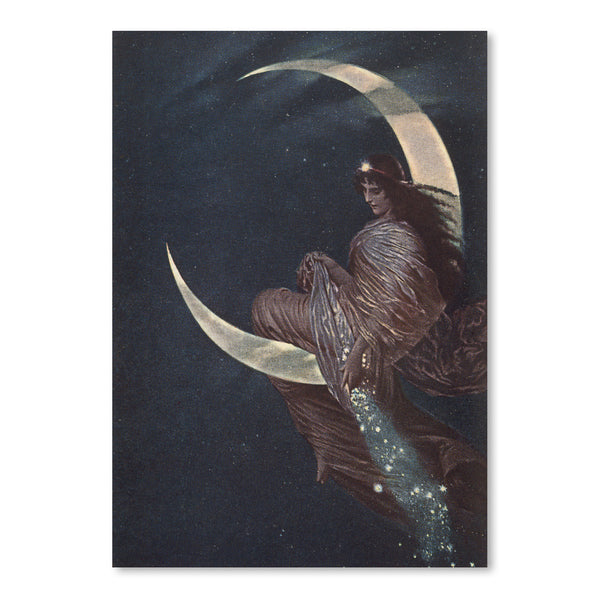 Enchantress Sitting On Moon by Found Image Press Art Print