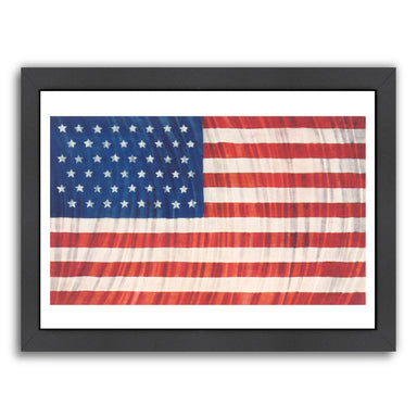 Flag And Search Lights by Found Image Press Framed Print - Wall Art - Americanflat