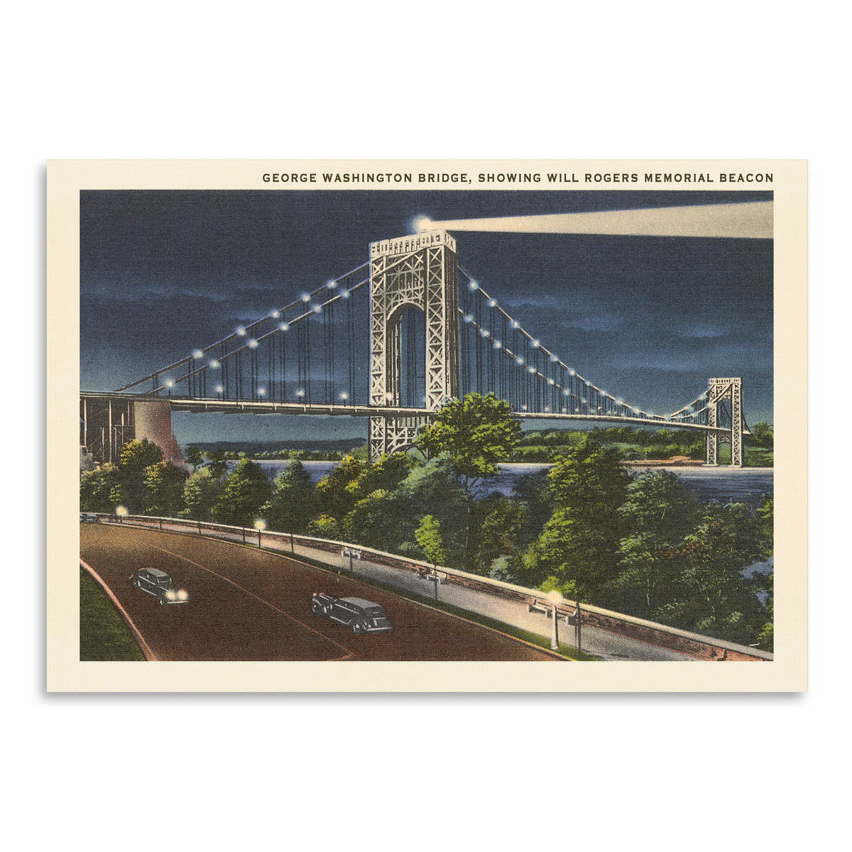 George Washington Bridge Hudson River by Found Image Press Art Print - Art Print - Americanflat