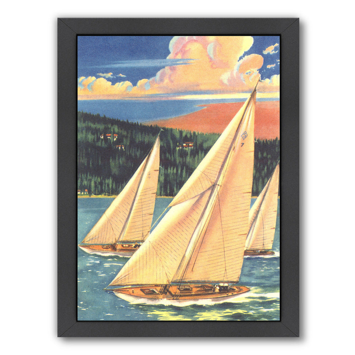 Three Sailboats by Found Image Press Framed Print - Americanflat