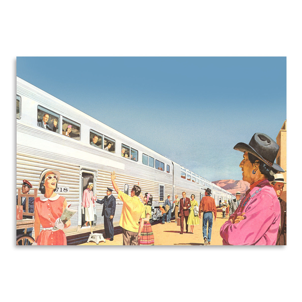 Train Arriving In Sunny West by Found Image Press Art Print - Art Print - Americanflat