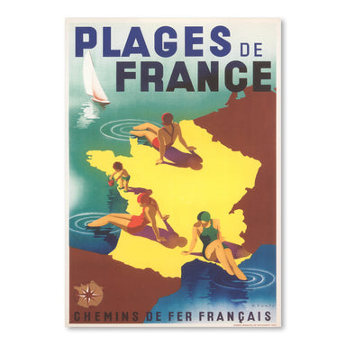 Travel Poster For Beaches Of France by Found Image Press Art Print - Art Print - Americanflat