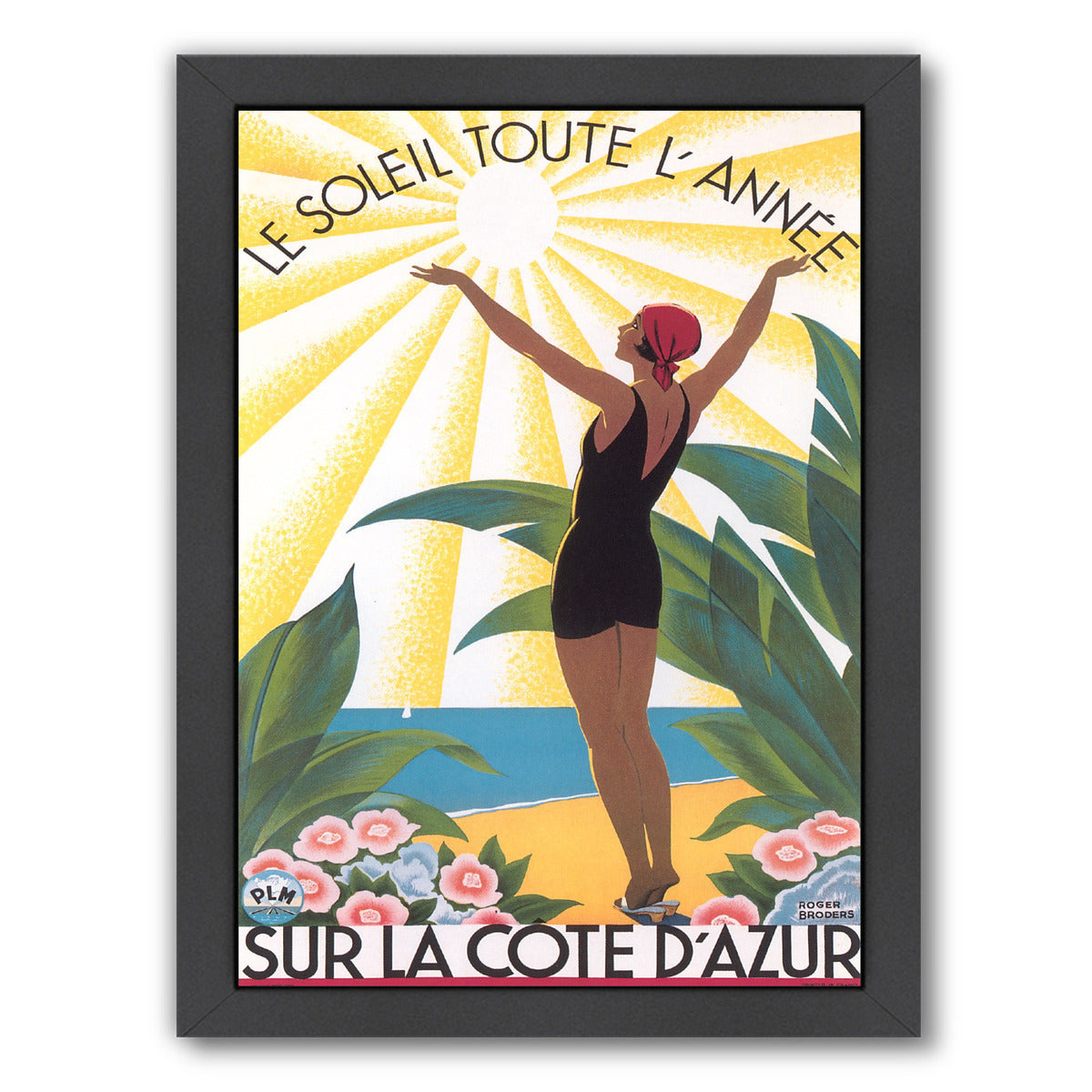 Travel Poster For Cote D Azur by Found Image Press Framed Print - Americanflat