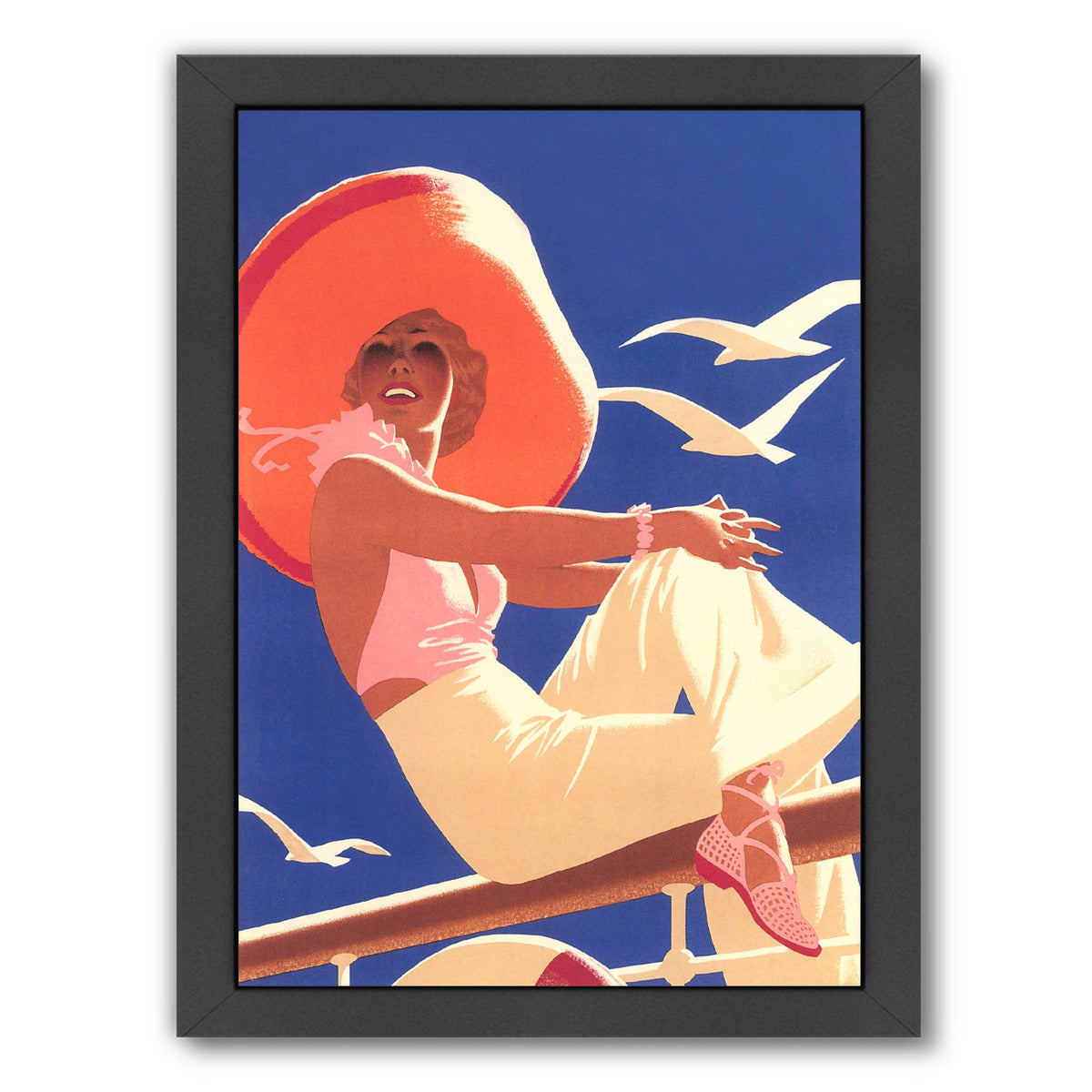 Woman On Ship Rail by Found Image Press Framed Print - Americanflat