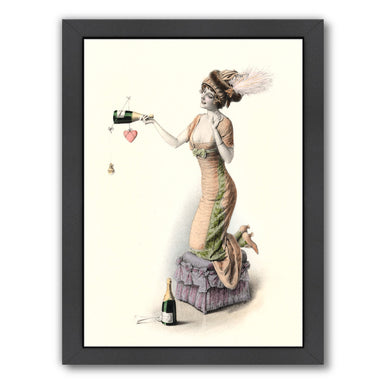 Woman With Champagne Bottle by Found Image Press Framed Print - Wall Art - Americanflat