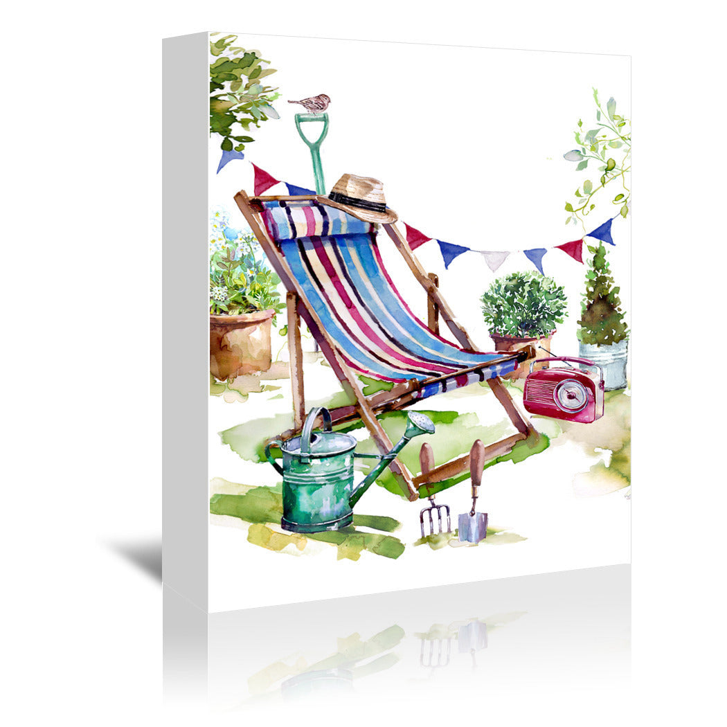 Deckchair In The Garden by Harrison Ripley Wrapped Canvas - Wrapped Canvas - Americanflat