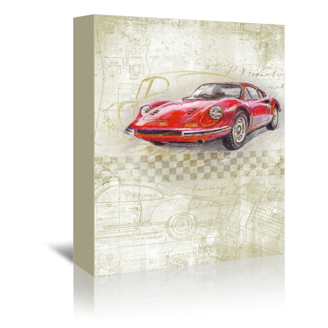 Ferrari Dino Gt by Harrison Ripley Wrapped Canvas - Wrapped Canvas - Americanflat