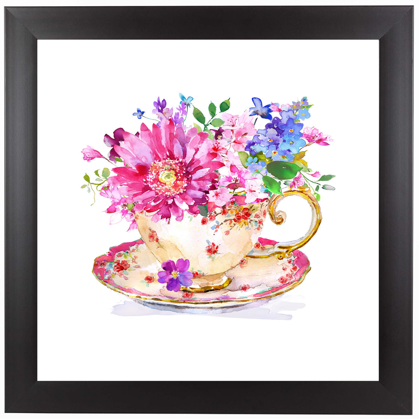 Vintage Cup Floral by Harrison Ripley Framed Print - Wall Art - Americanflat