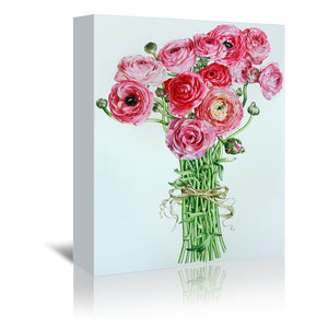 Pink Ranunculus by Elizabeth Hellman Wrapped Canvas