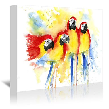 4 Red Macaws by Rachel McNaughton Wrapped Canvas - Wrapped Canvas - Americanflat