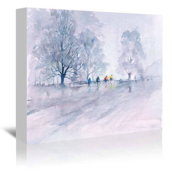 Country Cyclists by Rachel McNaughton Wrapped Canvas