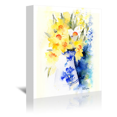 Daffs In Blue And White Vase by Rachel McNaughton Wrapped Canvas - Wrapped Canvas - Americanflat