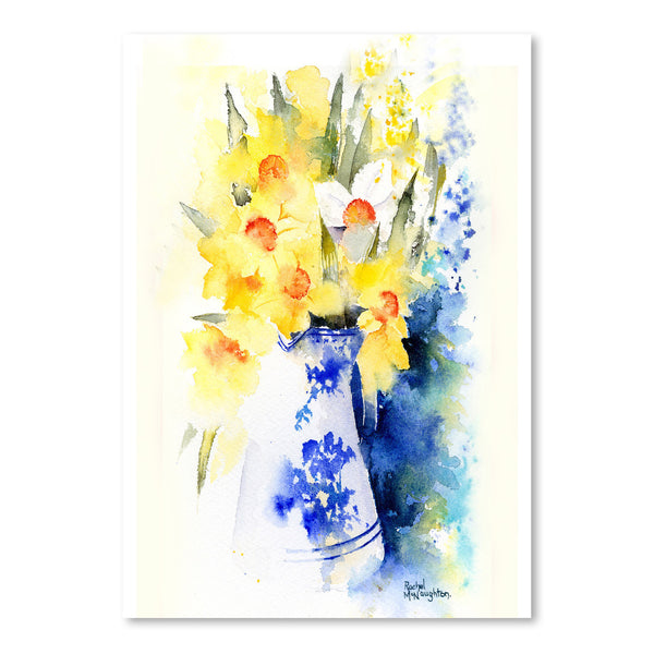 Daffs In Blue And White Vase by Rachel McNaughton Art Print