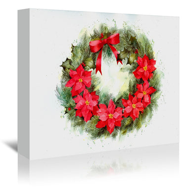 Poinsettia Wreath Color by Rachel McNaughton Wrapped Canvas - Wrapped Canvas - Americanflat