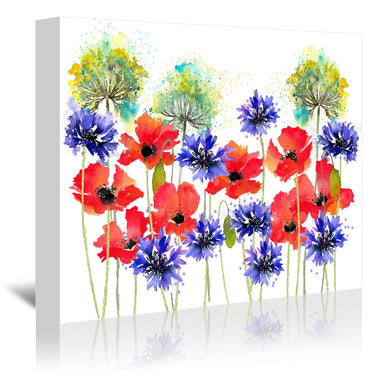 Poppies Parsley And Cornflowers by Rachel McNaughton Wrapped Canvas - Wrapped Canvas - Americanflat