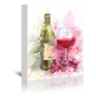 Red Wine And Grapes by Rachel McNaughton Wrapped Canvas - Wrapped Canvas - Americanflat
