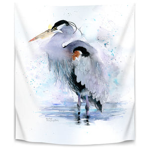 Splashy Heron by Rachel Mcnaughton Tapestry
