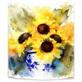 Sunflowers In Blue And White Vase by Rachel Mcnaughton Tapestry