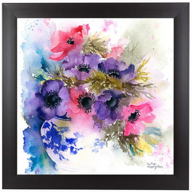 Anemones In Blue And White Vase by Rachel McNaughton Framed Print - Americanflat