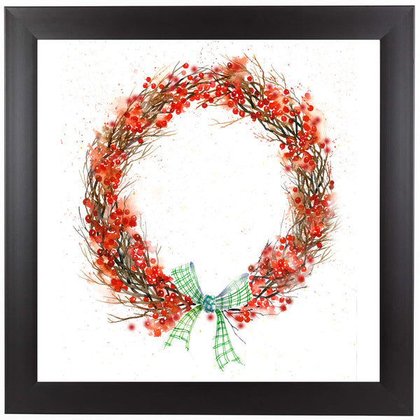 Twig And Berry Wreath by Rachel McNaughton Framed Print