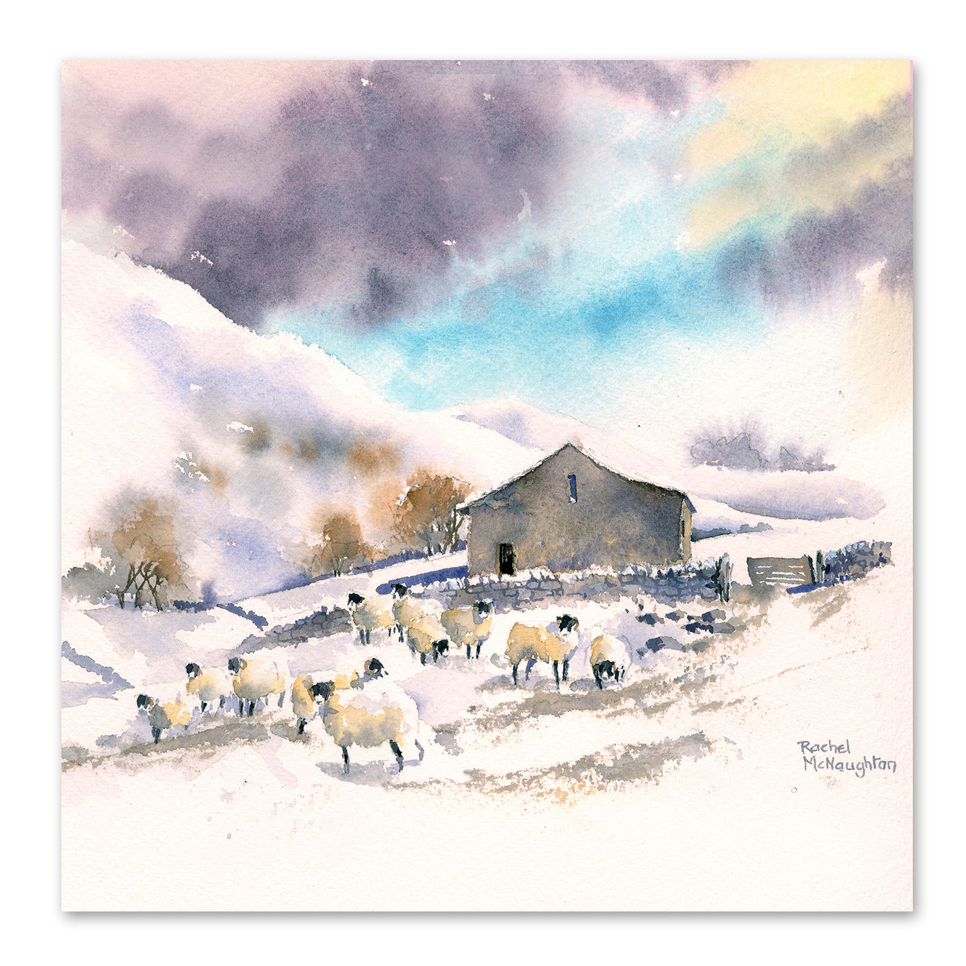 Winter Sheep And Barn by Rachel McNaughton Art Print - Art Print - Americanflat