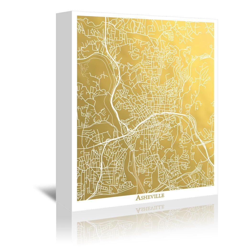Asheville by The Gold Foil Map Company Wrapped Canvas - Wrapped Canvas - Americanflat