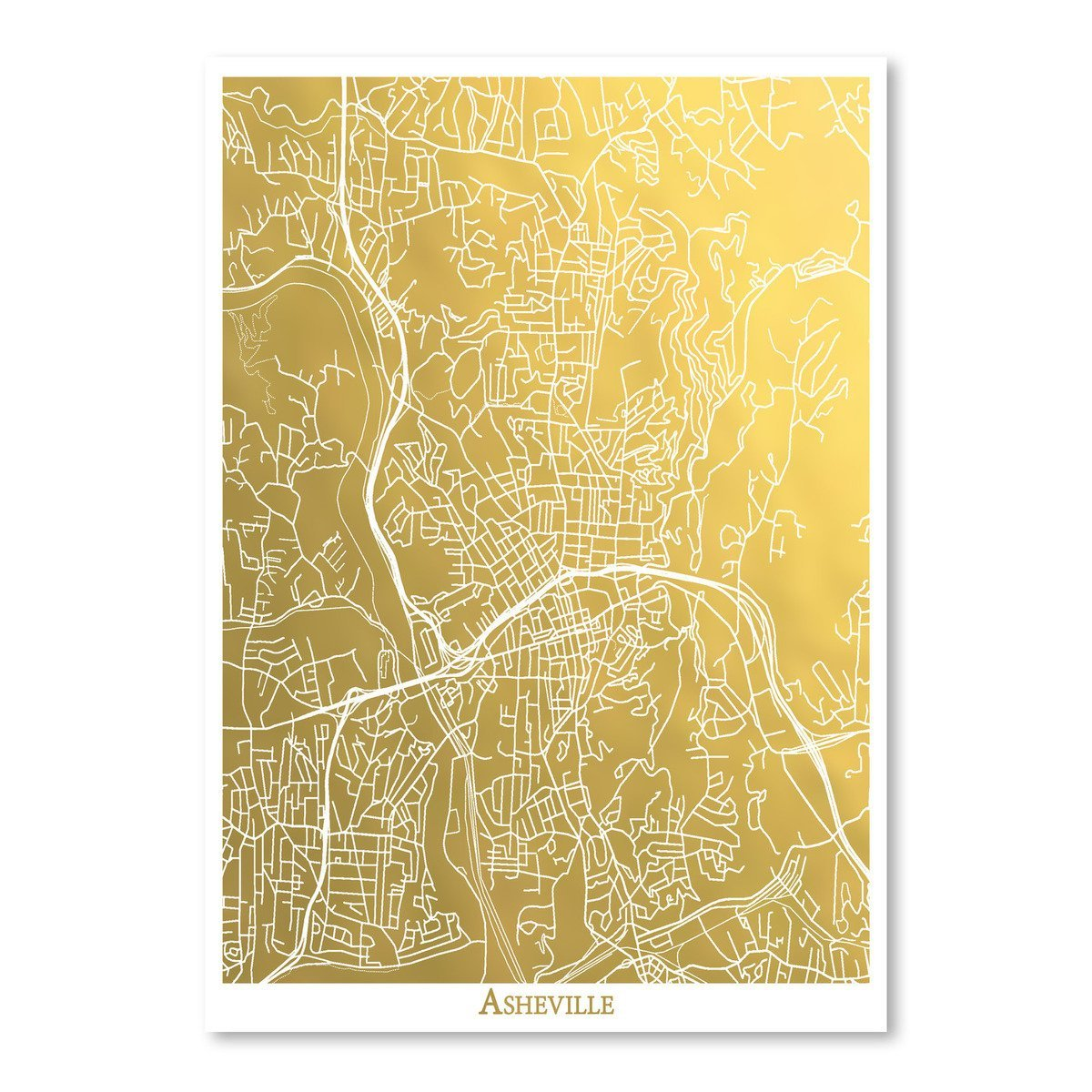 Asheville by The Gold Foil Map Company Art Print - Art Print - Americanflat