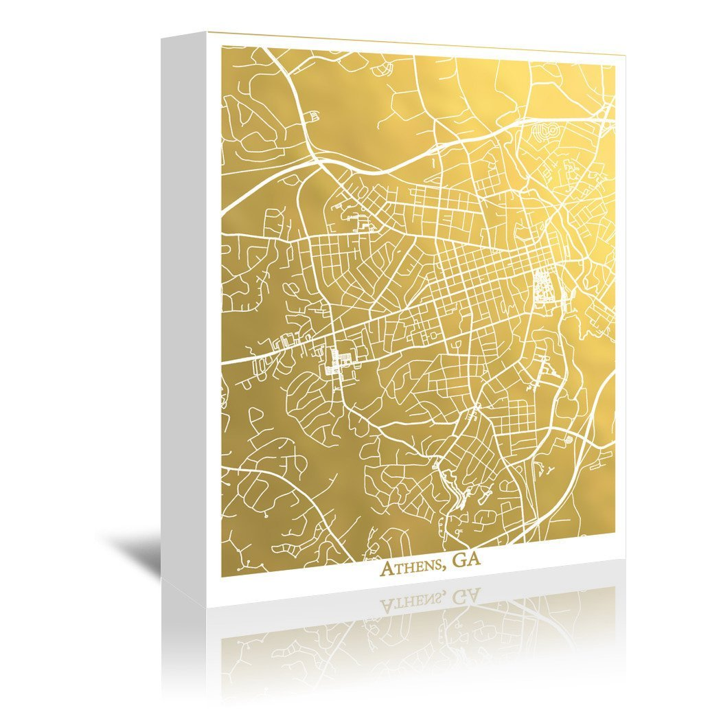 Athens by The Gold Foil Map Company Wrapped Canvas - Wrapped Canvas - Americanflat