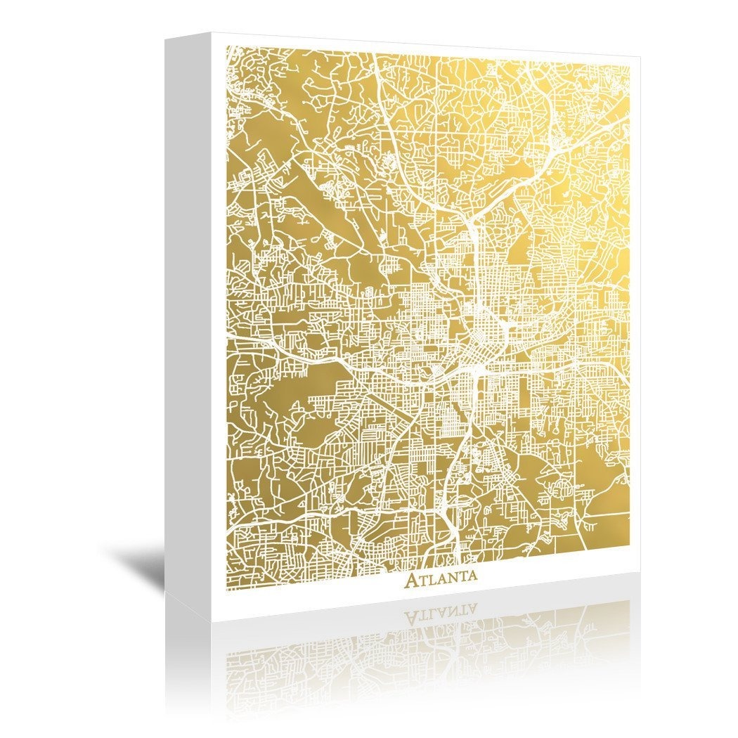 Atlanta by The Gold Foil Map Company Wrapped Canvas - Wrapped Canvas - Americanflat