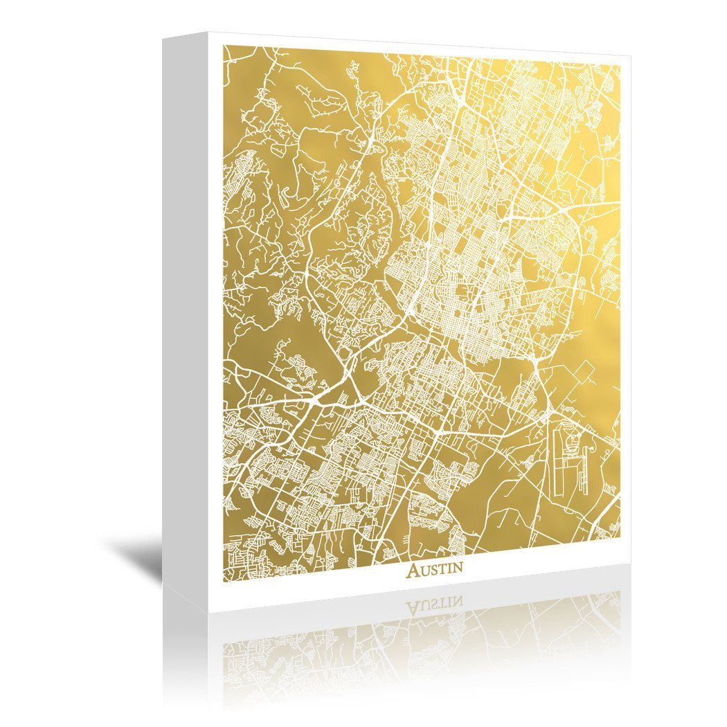 Austin by The Gold Foil Map Company Wrapped Canvas - Wrapped Canvas - Americanflat