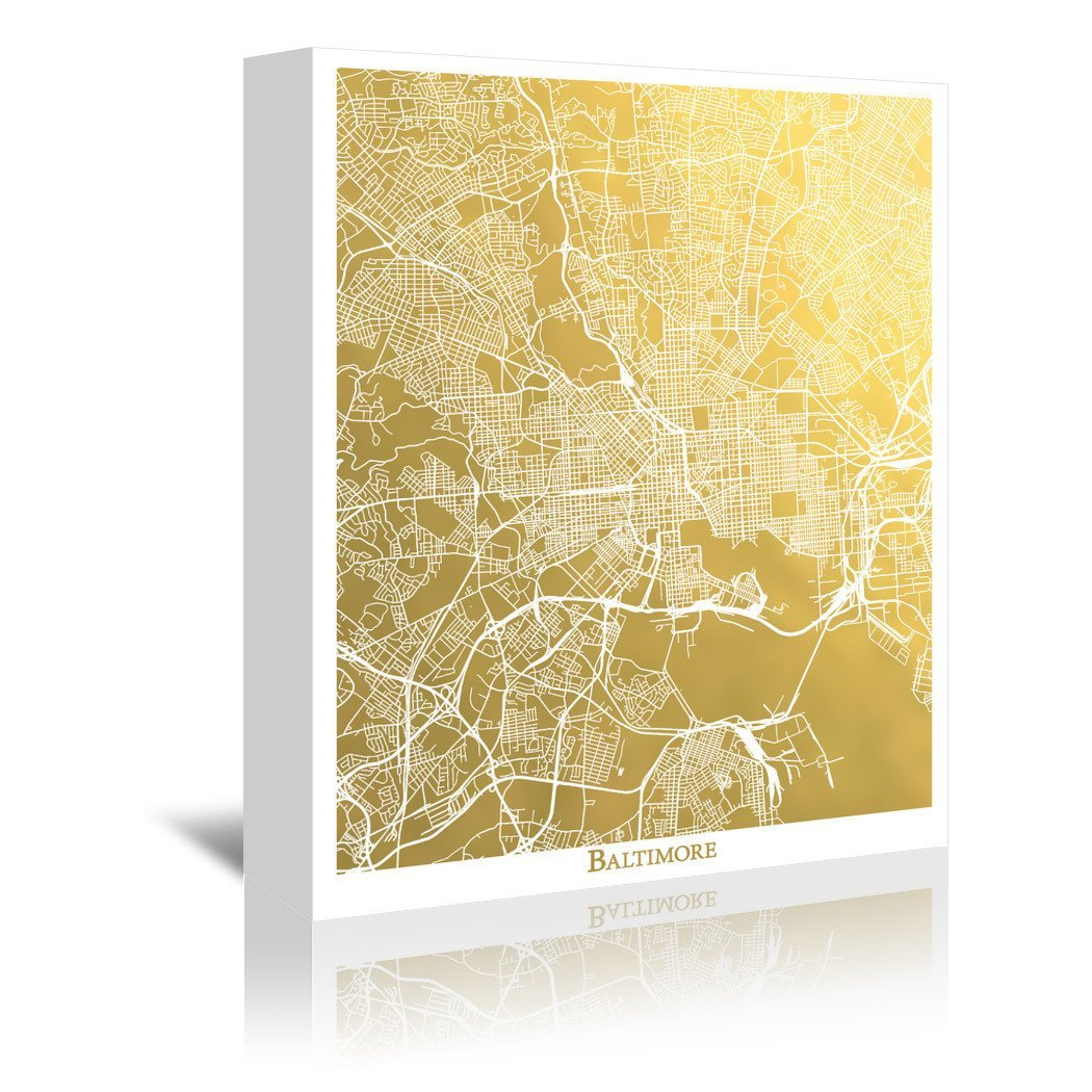 Baltimore by The Gold Foil Map Company Wrapped Canvas - Wrapped Canvas - Americanflat