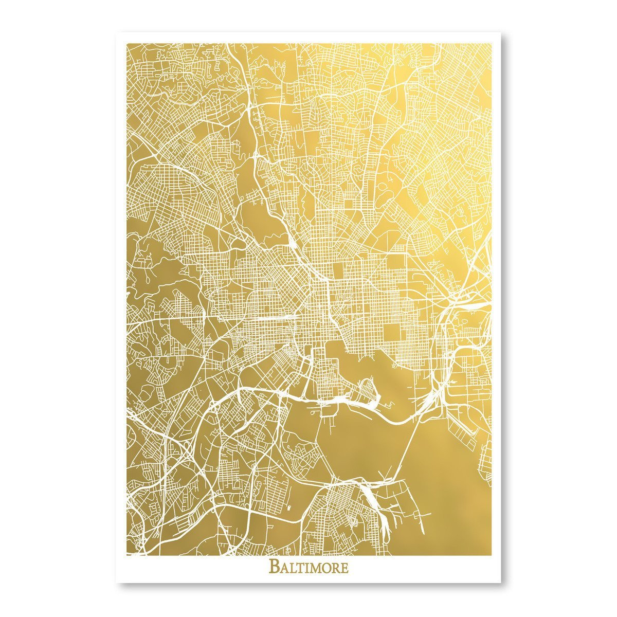 Baltimore by The Gold Foil Map Company Art Print - Art Print - Americanflat