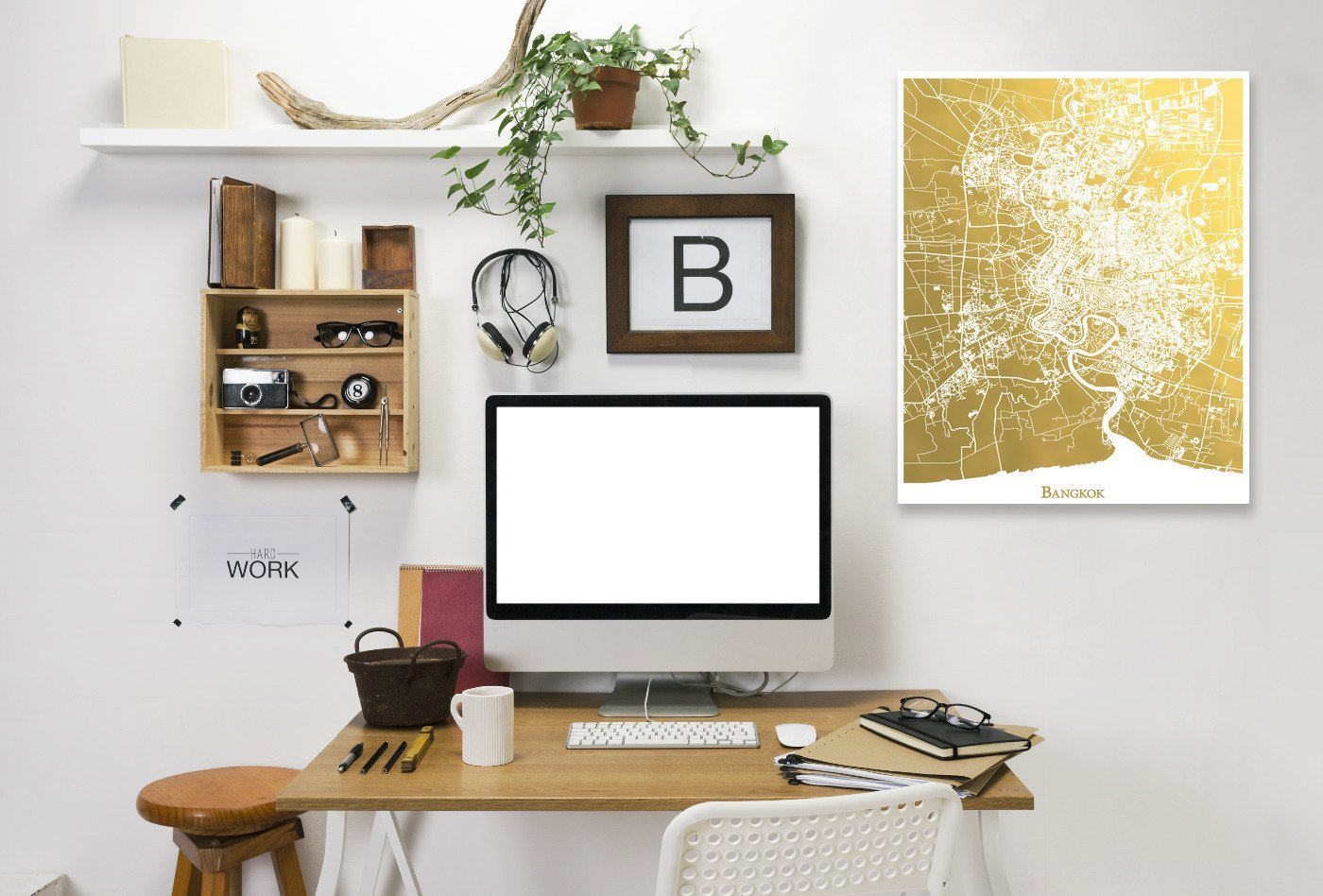 Bangkok by The Gold Foil Map Company Wrapped Canvas - Wrapped Canvas - Americanflat