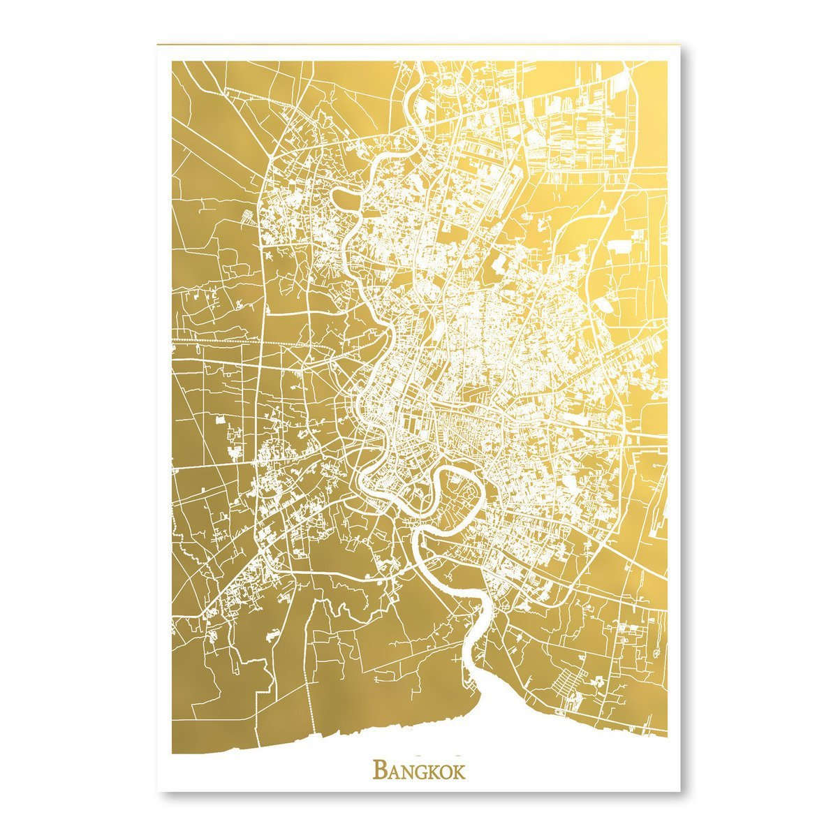 Bangkok by The Gold Foil Map Company Art Print - Art Print - Americanflat