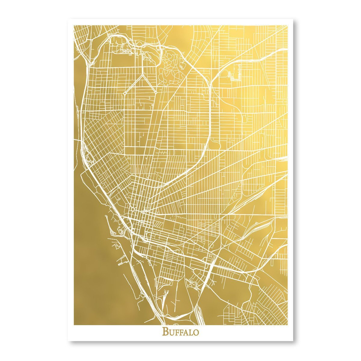 Buffalo by The Gold Foil Map Company Art Print - Art Print - Americanflat