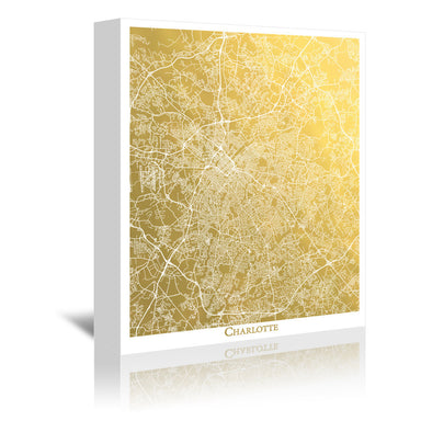Charlotte by The Gold Foil Map Company Wrapped Canvas - Wrapped Canvas - Americanflat