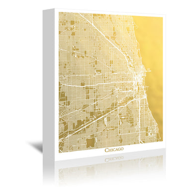 Chicago by The Gold Foil Map Company Wrapped Canvas - Wrapped Canvas - Americanflat