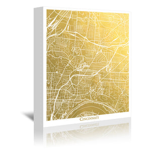 Cincinnati by The Gold Foil Map Company Wrapped Canvas